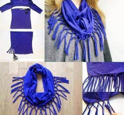 A scarf made from an old dress.