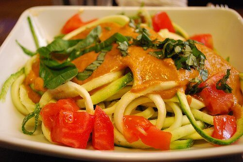 Spaghetti with Steamed Vegetables