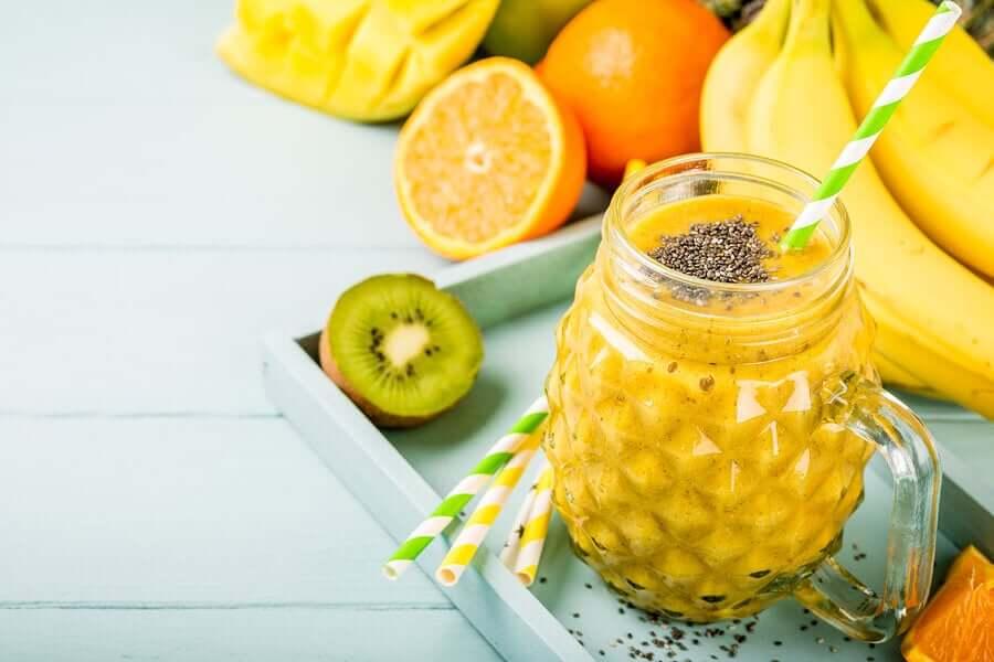 A tropical fruit smoothie.