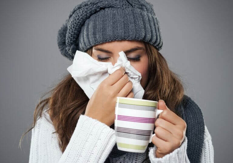 woman with a respiratory infection