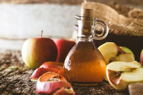 A bottle of apple cider vinegar.