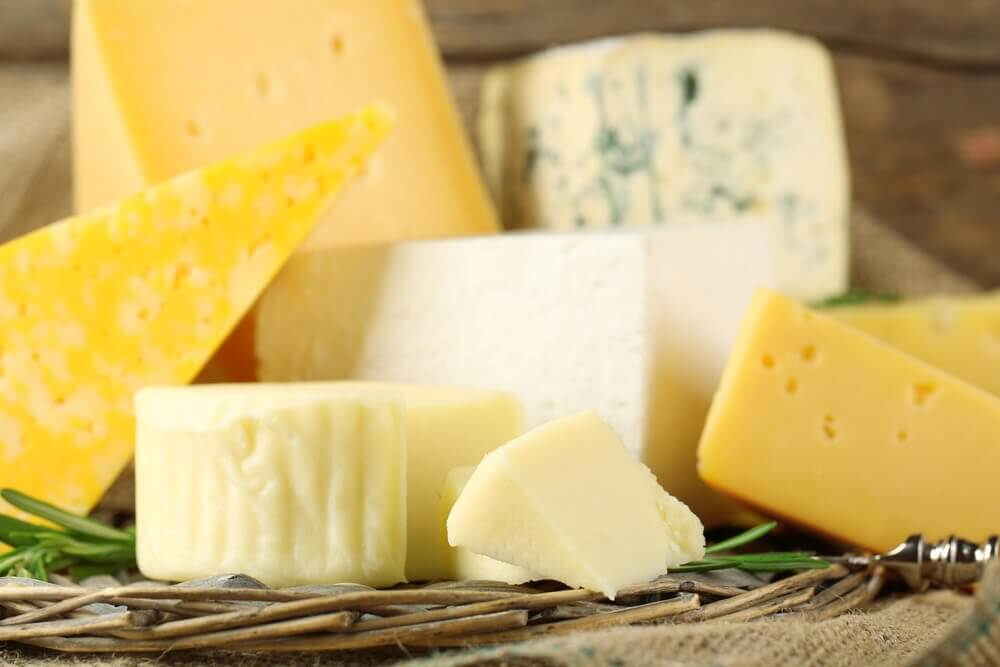 Different types of cheeses