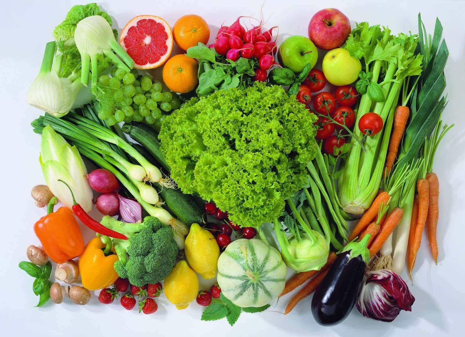 A wide selection of fruit and vegetables