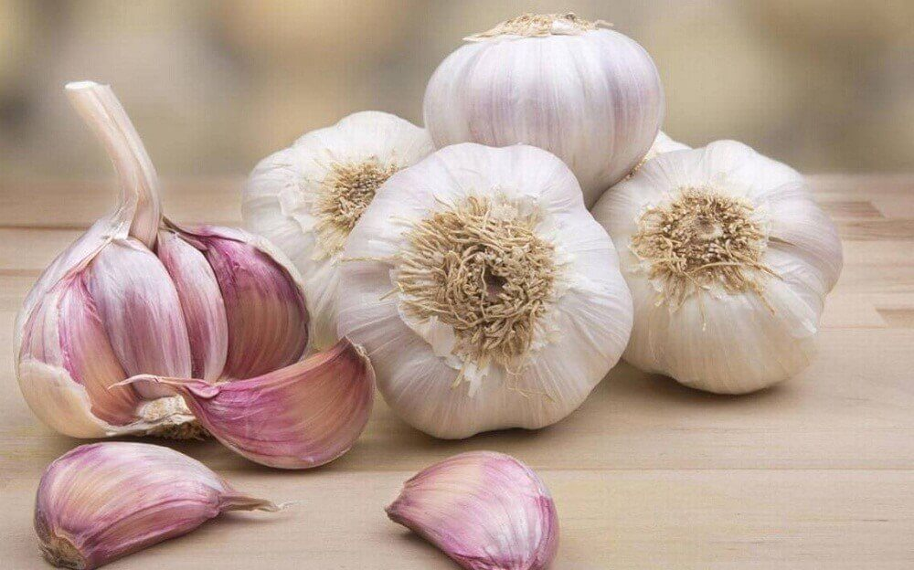A number of garlic bulbs