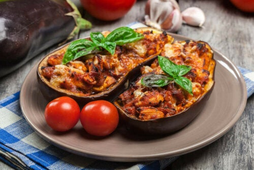 Some stuffed tomato and eggplant to lose weight.