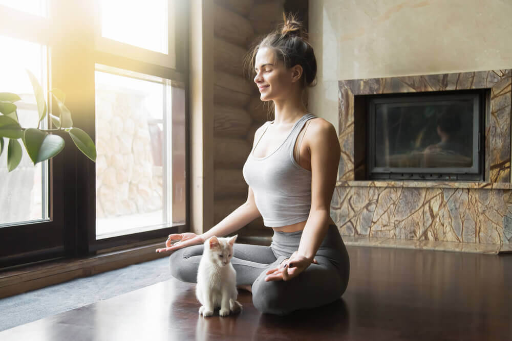 Woman in a yoga meditation pose with a cat