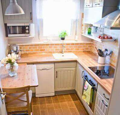 Decorate a small kitchen wood countertops light colors organized free countertops window light