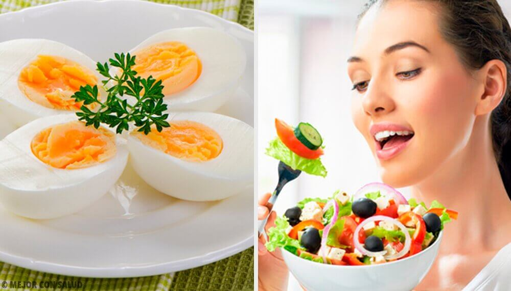 Healthy food and eggs.