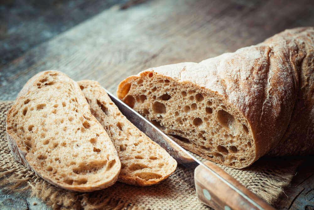 Homemade wholegrain bread.