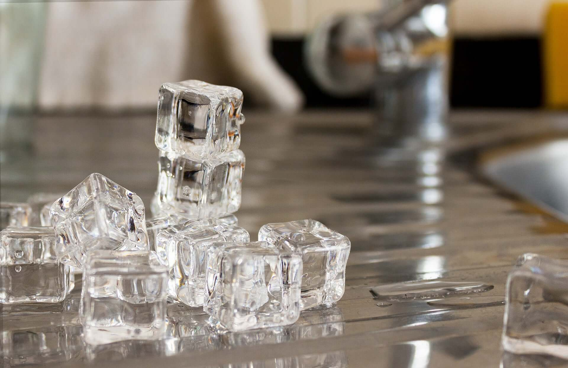 Ice cubes on a kitchen counter.