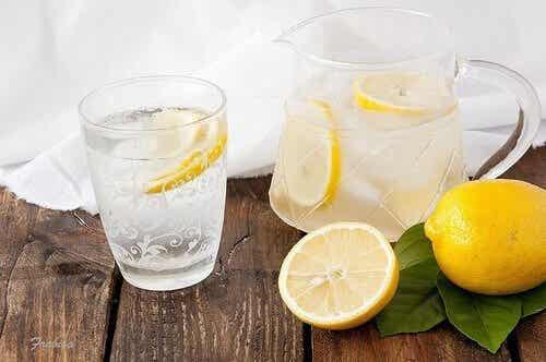 A jug of lemon water.