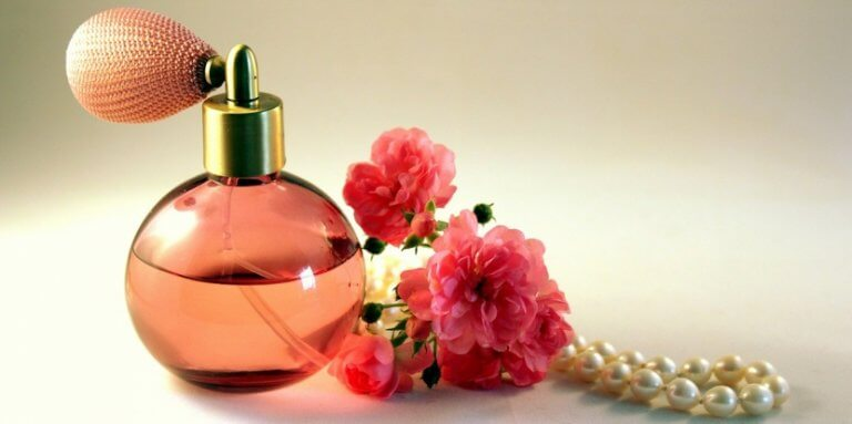 Pink perfume and flowers.