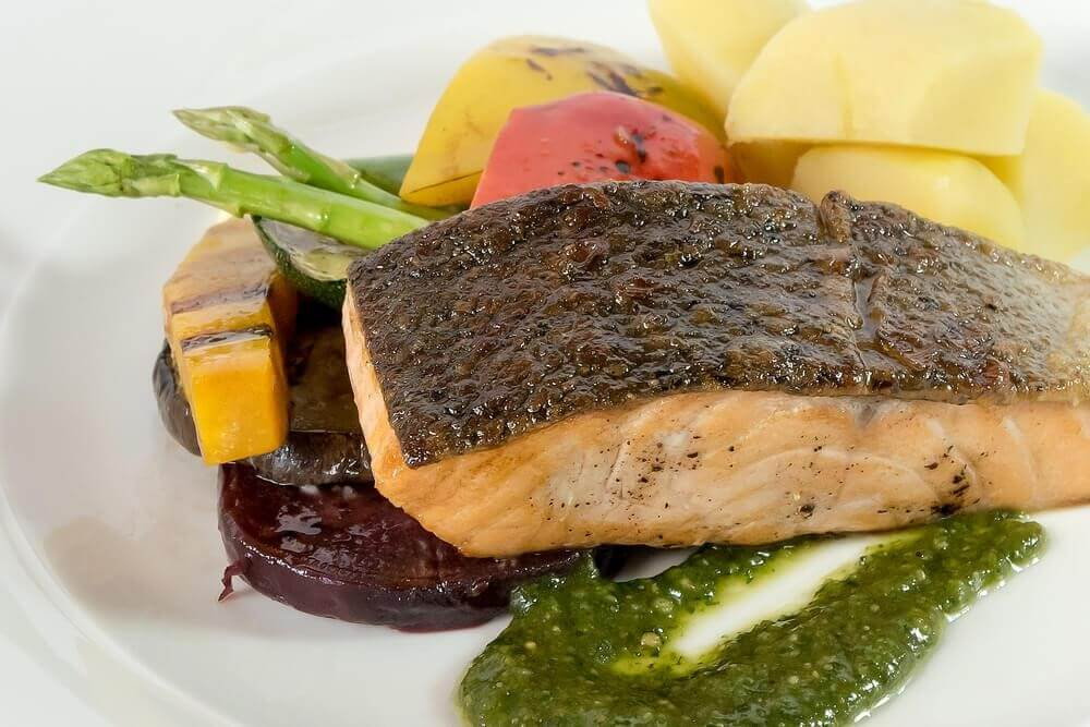 Steamed Salmon With Buttered Vegetables