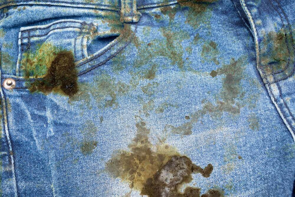 stained jeans