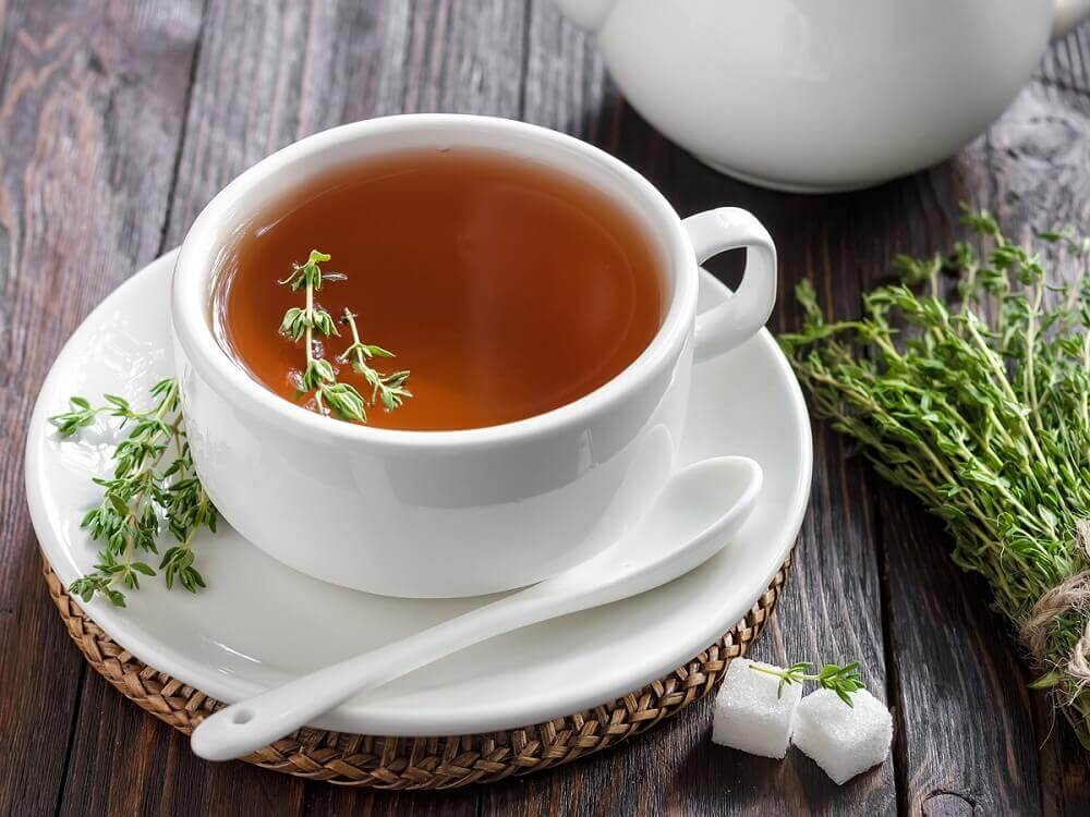 treat diarrhea with thyme tea