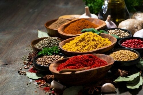 Some different spices in bowls.
