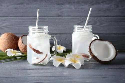 A couple glasses of coconut water.
