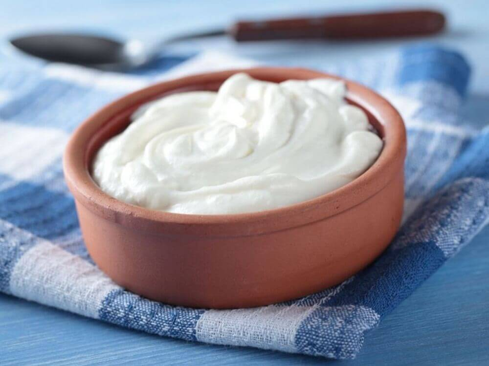 A small clay bowl of whole milk yogurt