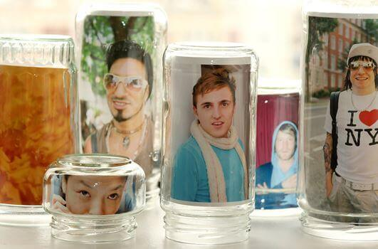 Photo frames made out of glass jars