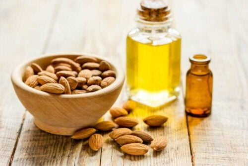 Some almond oil which helps get rid of bags under your eyes.