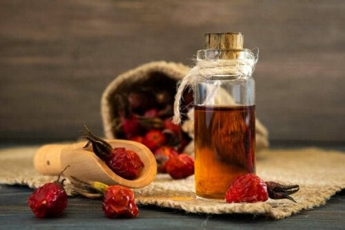 Some rosehip oil which helps with bags under your eyes.