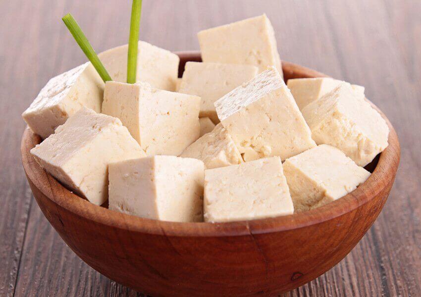 A bowl of tofu.