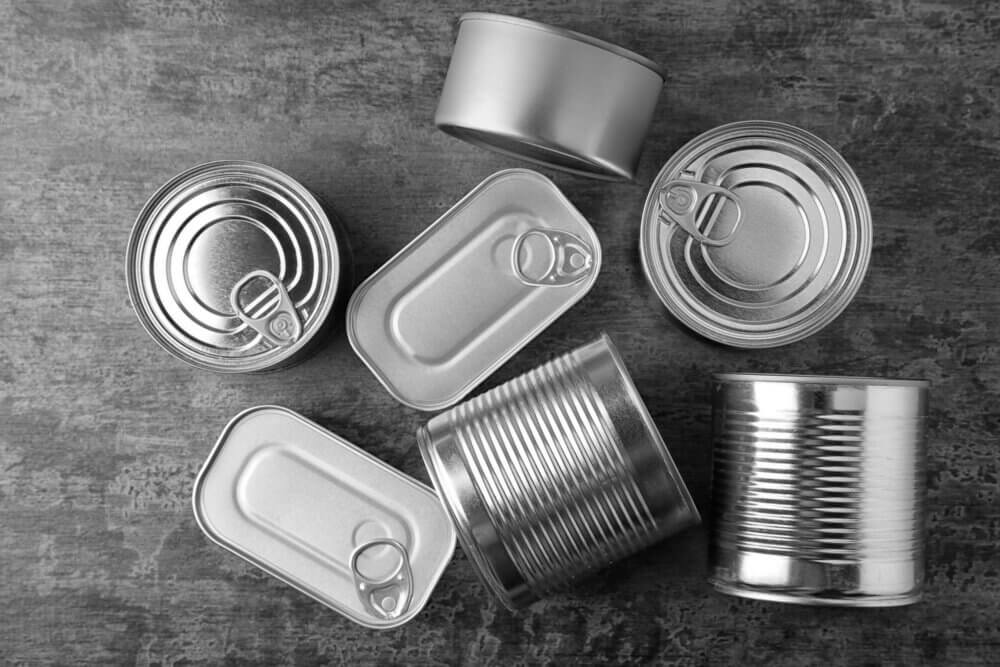 A collection of recycled tin cans