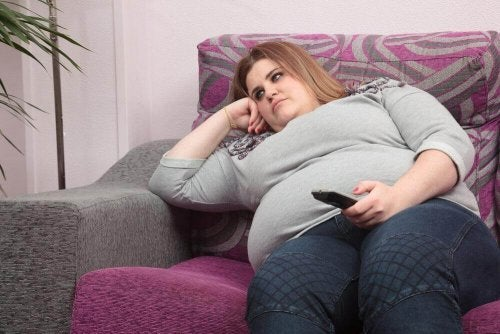 A sad and obese woman.