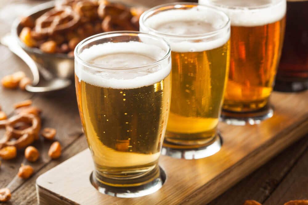 Three glasses of beer.