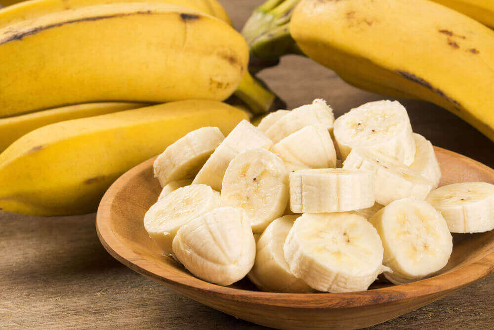 chopped bananas in a bowl