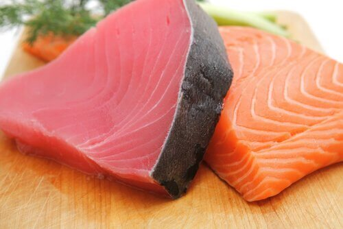 Thick cuts of fish.