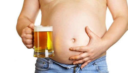Man's beer belly.