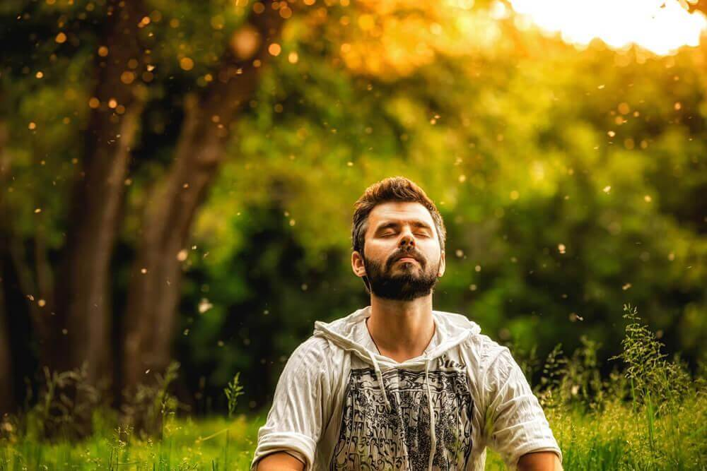 man practicing mindfulness