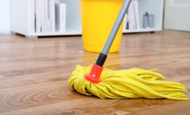 A mop on a wooden floor.
