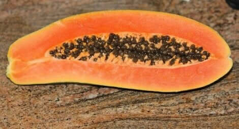 A sliced papaya.