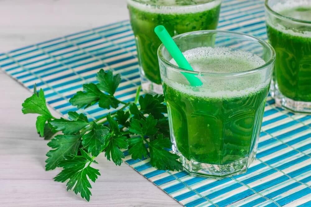 Parsley green smoothies.