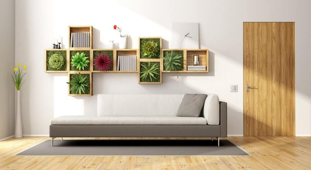 A vertical garden and a couch.
