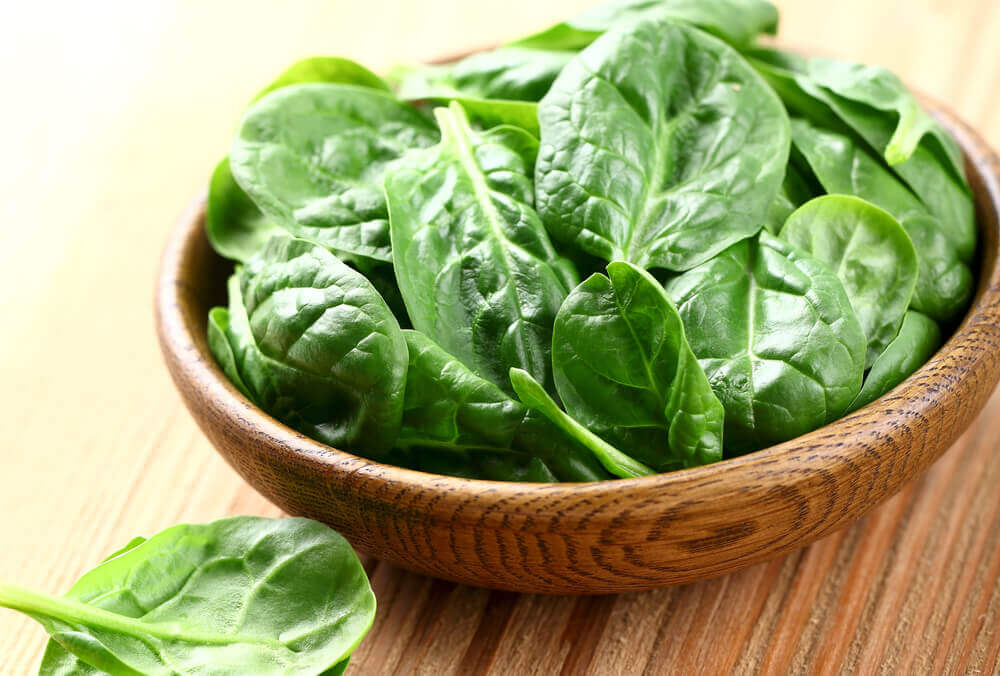 Spinach in low-calorie vegetable recipes.
