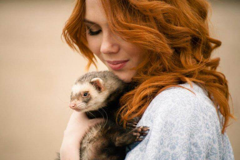 woman with her ferret