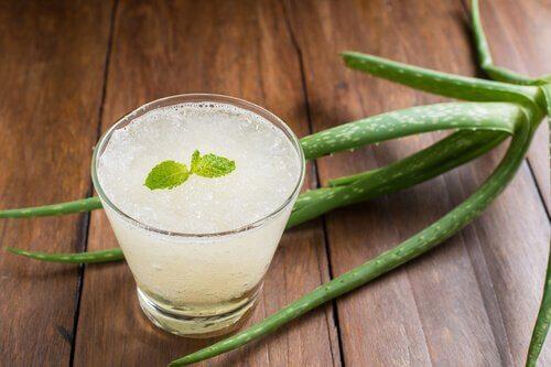 A glass of aloe vera remedy