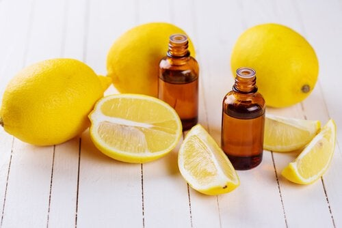 Lemons and bottles of lemon oil to get the bad smell out of towels