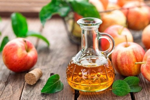 Apple cider vinegar in a bottle.