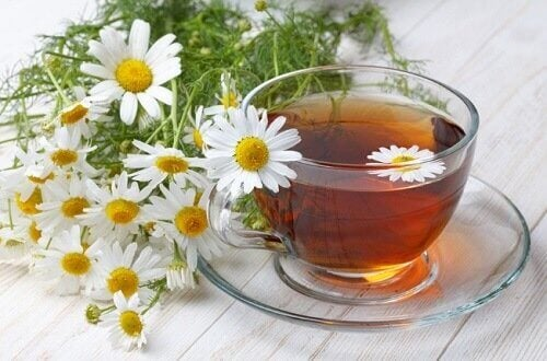 A cup of chamomile infusion
