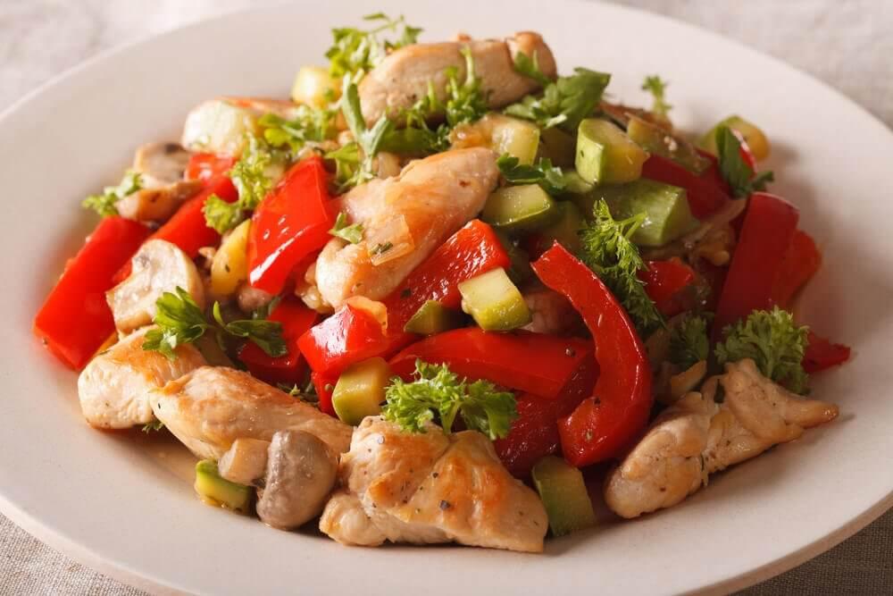 A bowl of delicious chicken salad