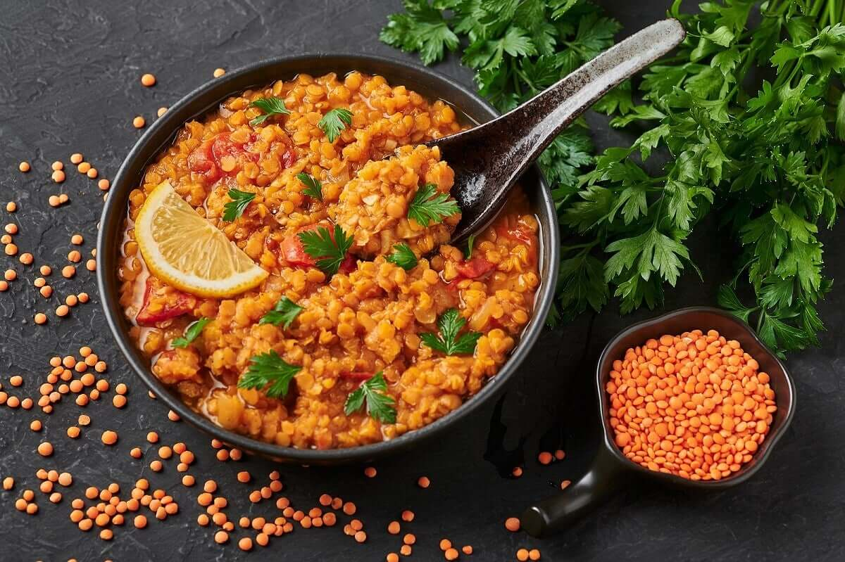 Cooked turkish lentils.