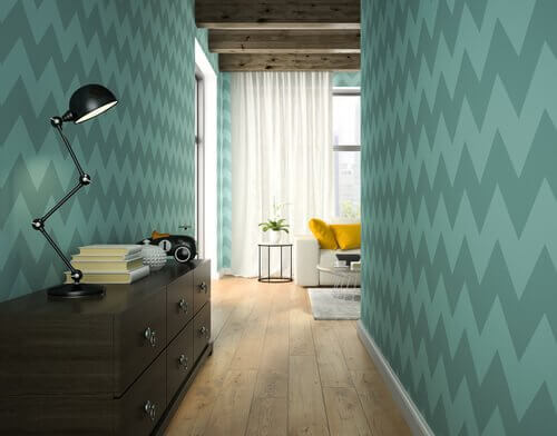 Patterned walls in the hallways.