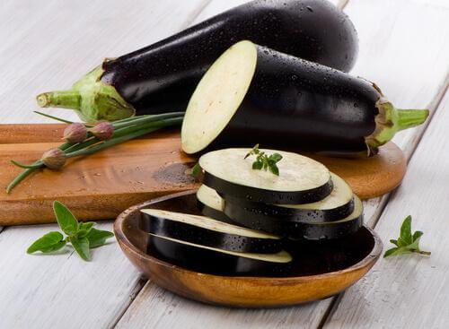 Eggplant cut into slices for breaded eggplant