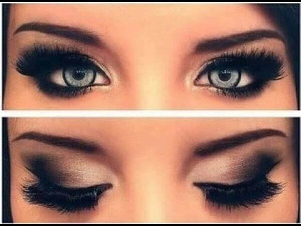 Small eyes and makeup.