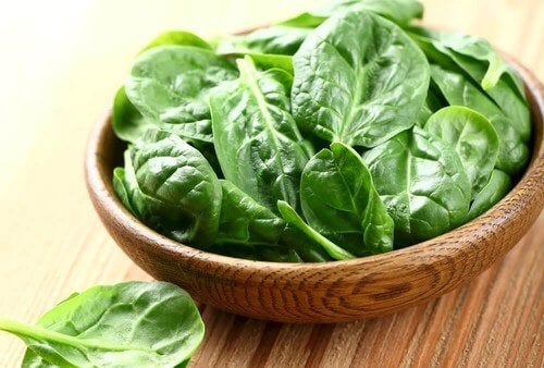 Spinach in a bowl.