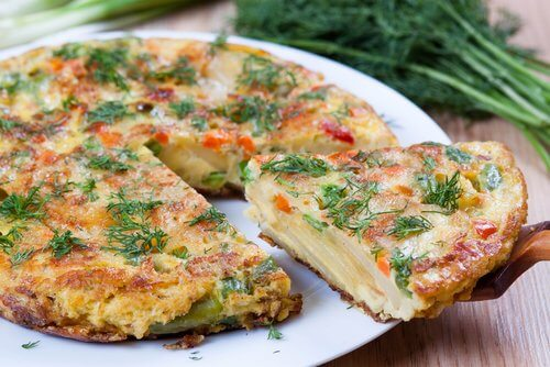 Spanish tortilla with potatoes.